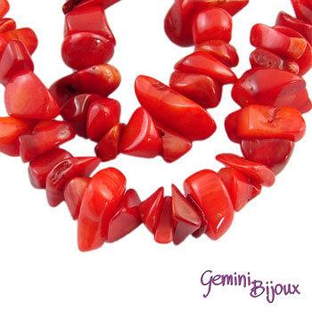 Lotto 1 Fila di chips Corallo rosso 82 cm.