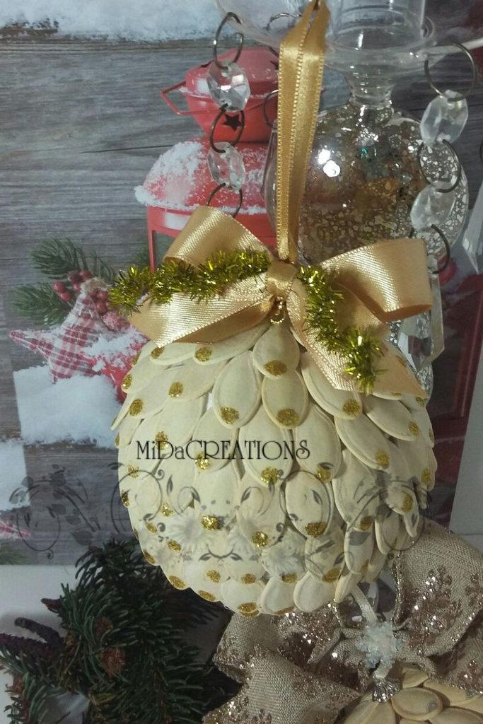 Sfera di Natale - Fantasia di zucca(oro)