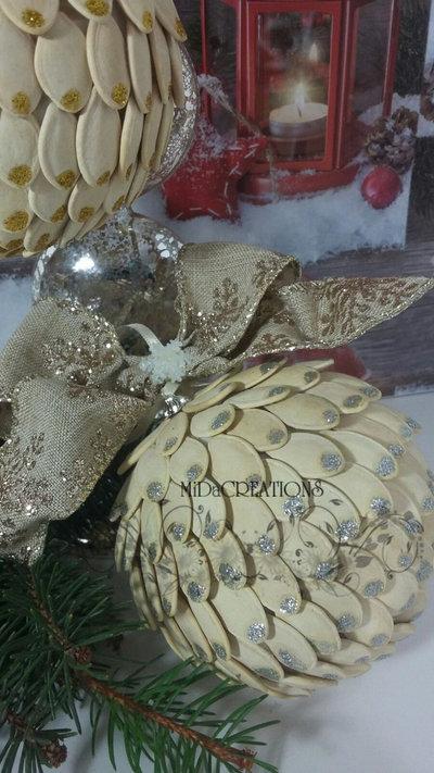 Sfera di Natale -Fantasia di zucca (argento)