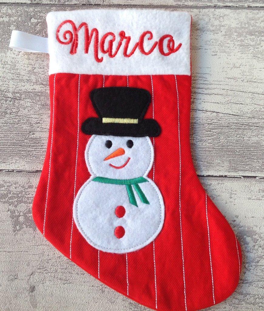Calza Natale Befana personalizzata con nome - Lungh.29 cm. - Quilt righe - Pupazzo di neve