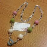 Collana lunga di perle multicolor