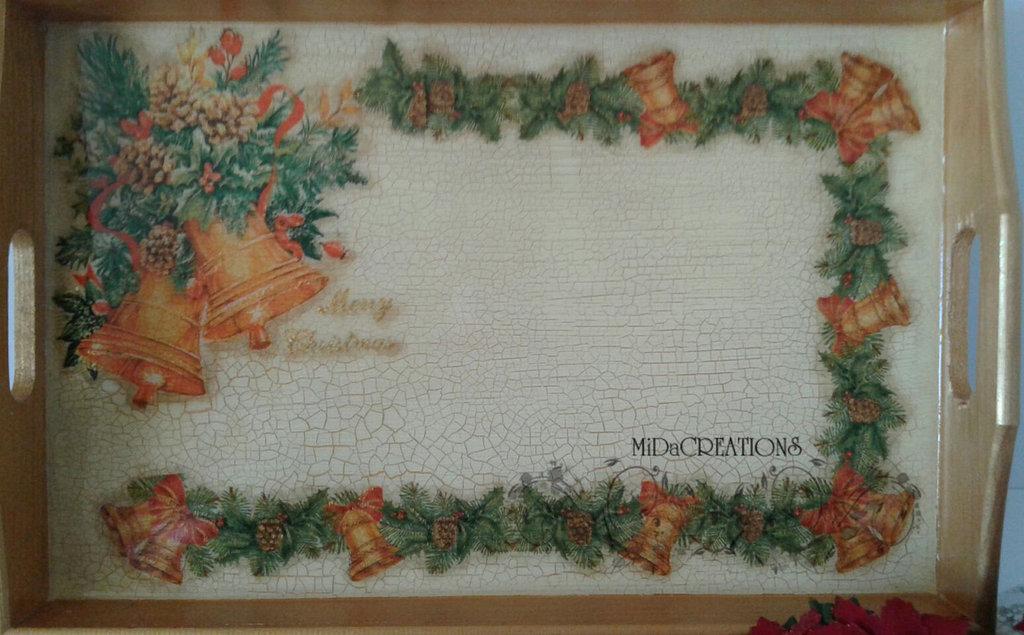 VASSOIO ,,Campane di Natale,, dipinto a mano