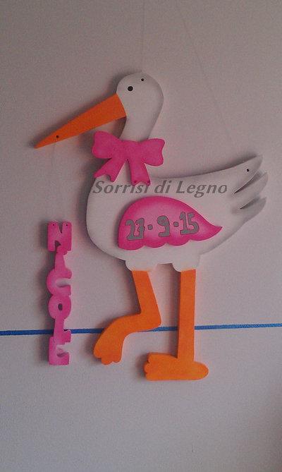 Cicogna rosa per esterni, fiocco nascita