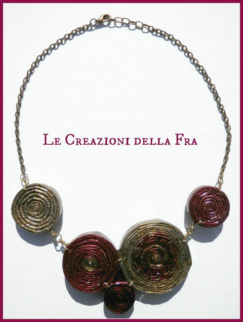 """Collana """"Spirali di Carta"""" Oro-Bordeaux"""