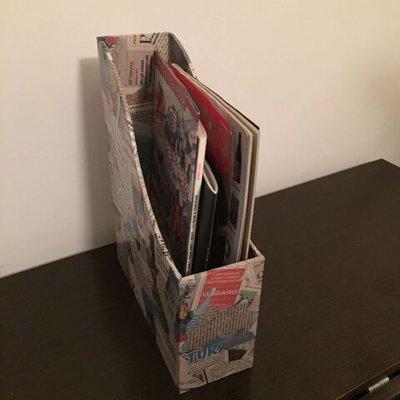 Porta riviste rivestito con ritagli di giornale - Per la ...