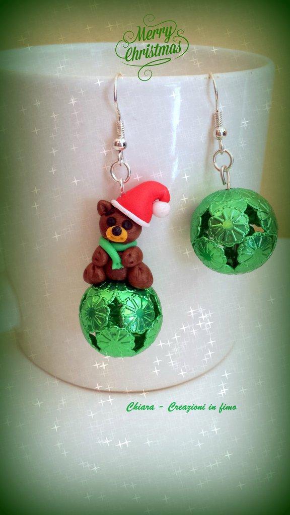 Novità! Orecchini in fimo handmade orsetto babbo natale Idee regalo Natale