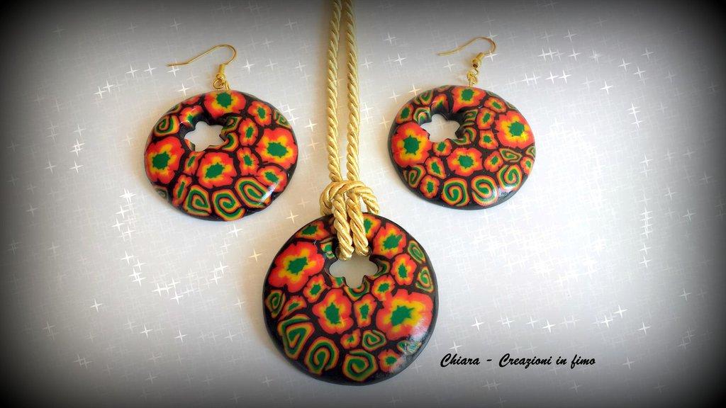 Parure con ciondolo e orecchini coordinati in fimo handmade Idee regalo donna