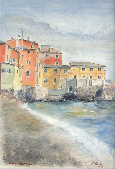 Acquerello: Spiaggia a Boccadasse (Genova)
