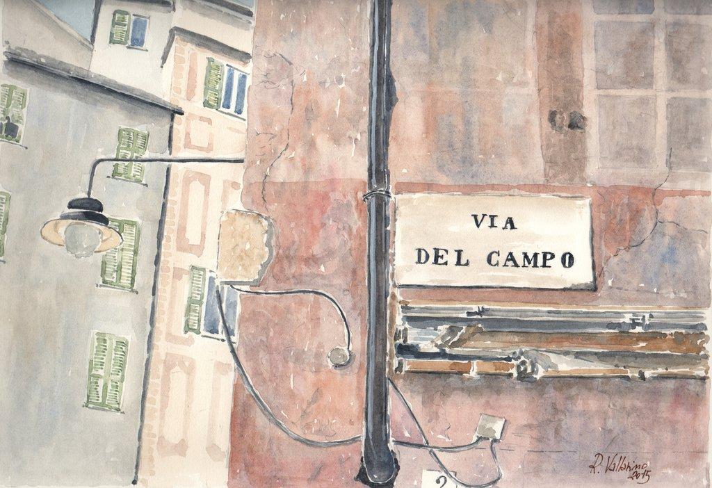 Acquerello: Omaggio a Fabrizio De Andrè. Genova, via del Campo