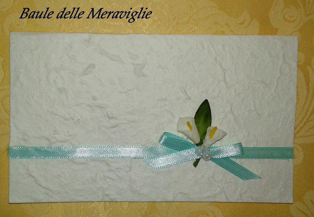 Partecipazione nozze Tiffany e calle in carta cotone