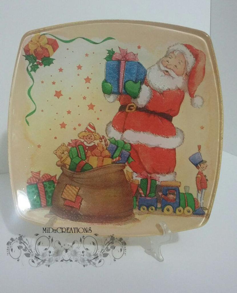 Piatto di vetro,,Babbo Natale,,