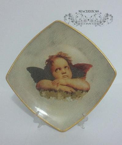 Piatto di vetro,,Cherubino,,dipinto a mano