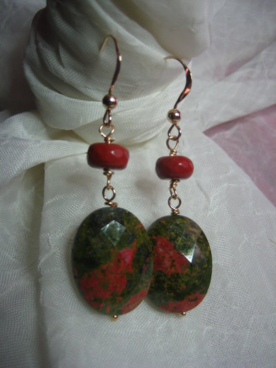 orecchini unakite diaspro rosso Gold Filled 14kt argento 925