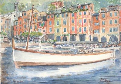 Acquerello: Barca a Portofino
