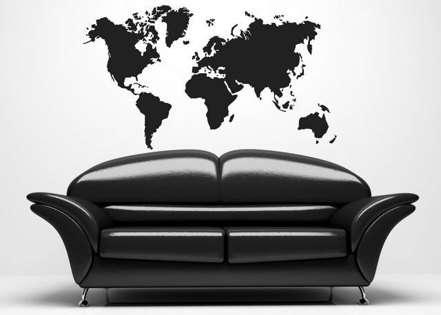 Adesivo per le pareti Mappa del mondo (119n)
