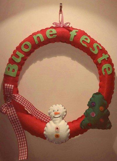Ghirlanda natalizia PUPAZZO DI NEVE in pannolenci