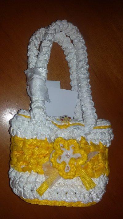 Borsetta per bambine gialla e bianca