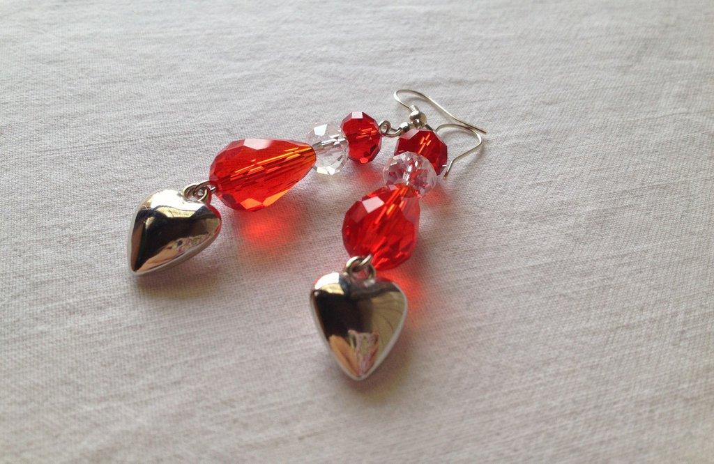 Heart in Red&White Earring / Orecchini Goccia e Cuore rossi