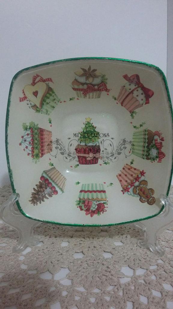 Piatto di vetro(ciotola),,Cupcake,, fatto a mano