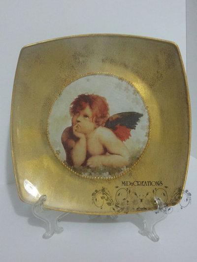 Piatto di vetro,,Cherubino,,(GRANDE) dipinto a mano