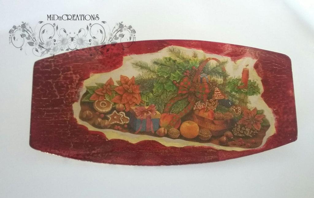 Centrotavola ,,Delizie di Natale,, dipinto a mano