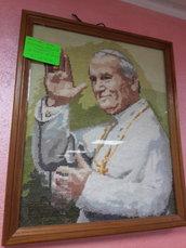 quadro papa Giovanni II papa buono ricamato a mano con mouline'