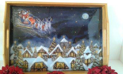 VASSOIO ,,Babbo Natale sta per arrivare...,, dipinto a mano