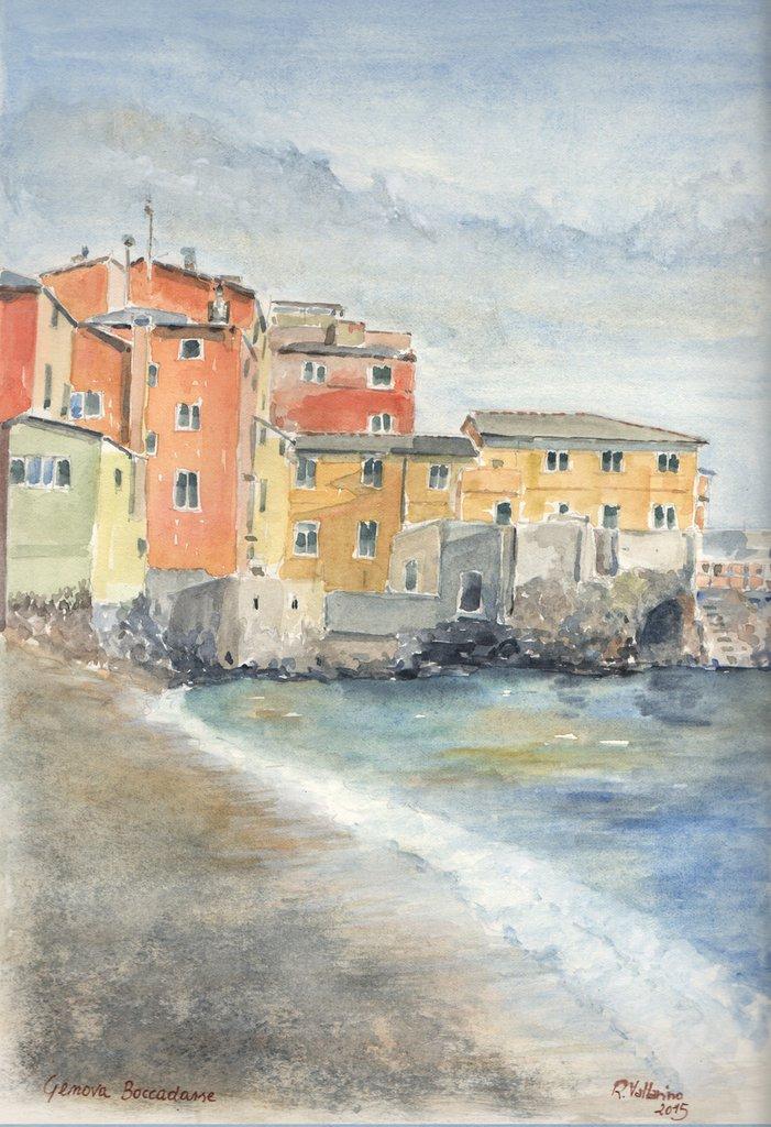 Stampa Acquerello: Spiaggia di Boccadasse (Genova)