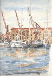 Stampa Acquerello: Porto di Genova. (Magazzini del cotone)