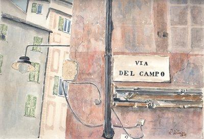 Stampa Acquerello: Omaggio a Fabrizio De Andrè. Via del Campo