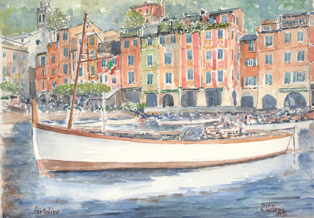 Stampa Acquerello: Barca a Portofino