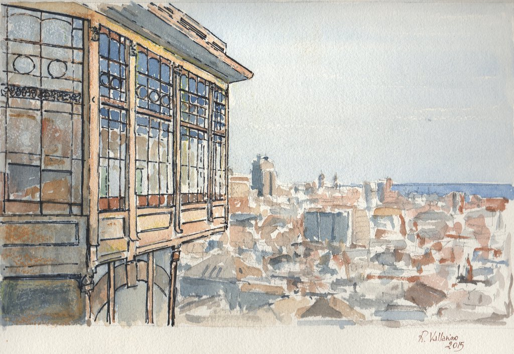 Stampa Acquerello: Ascensore del Belvedere di Castelletto (Genova)
