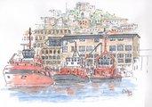 Stampa Acquerello: Rimorchiatori del Porto Storico di Genova