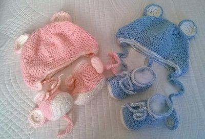 Cappellino E Scarpette Orsetto Per Neonati Fatte A Mano Allunci