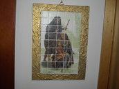 Quadro tipo mosaico con Sacra Famiglia