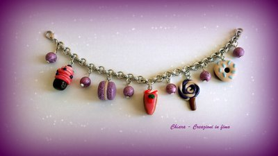 Bracciale in fimo handmade con dolcetti cupcake donuts macaroons tortine idee regalo amica regalo epifania calza befana