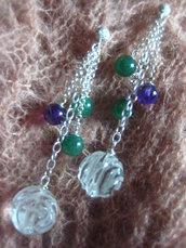 Orecchini argento 925 cristallo rocca avventurina ametista