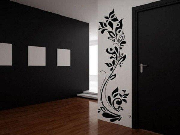 Adesivo per le pareti Fiore con farfalla (2651n)