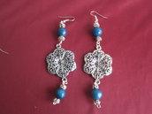 Agata blu e argento tibetano - Orecchini pendenti