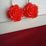 """Orecchini pendenti corti """"Rosa Rossa"""""""