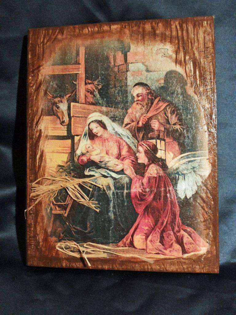 Quadro in legno della Natività