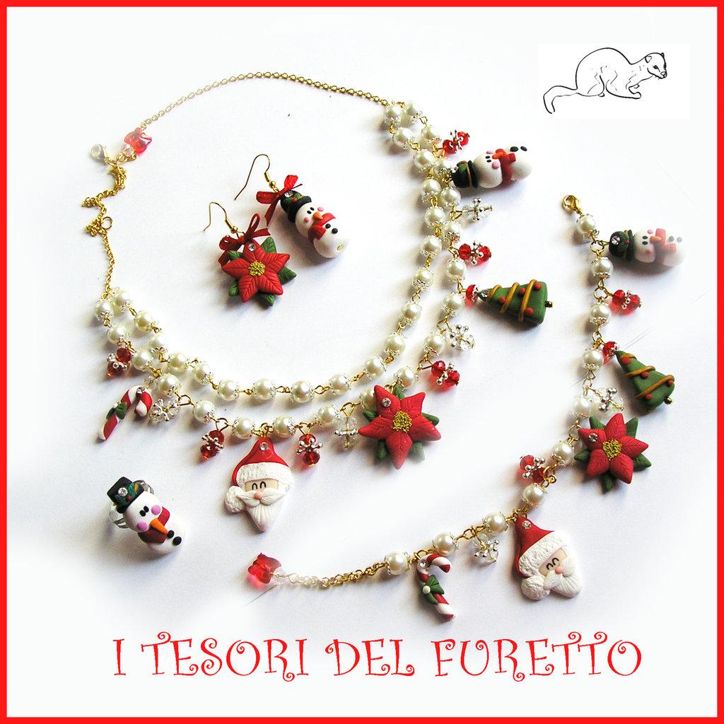 Riservato a Rossella! Parure di Natale collana bracciale anello orecchini con punti luce!