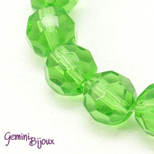 Lotto 10 perle tonde in vetro sfaccettate 10 mm. verde chiaro