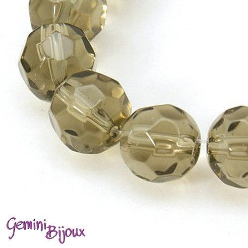 Lotto 10 perle tonde in vetro sfaccettate 10 mm. grigio
