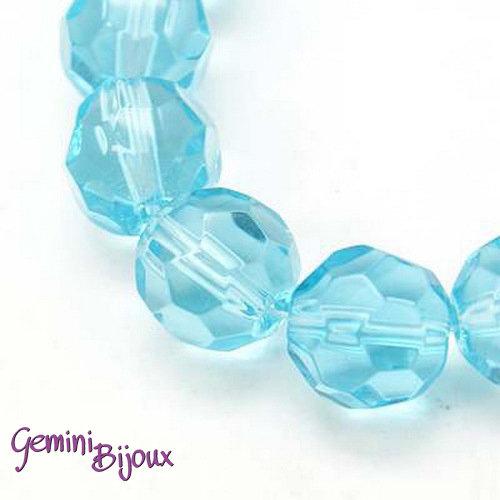 Lotto 10 perle tonde in vetro sfaccettate 10 mm. azzurro