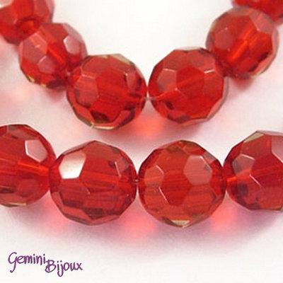 Lotto 10 perle tonde in vetro sfaccettate 10 mm. rosso