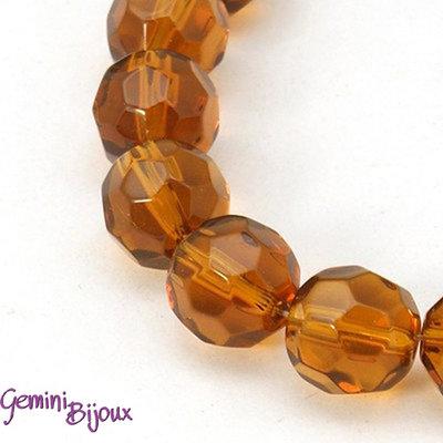 Lotto 10 perle tonde in vetro sfaccettate 10 mm. topaz