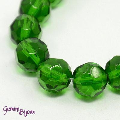 Lotto 10 perle tonde in vetro sfaccettate 10 mm. verde