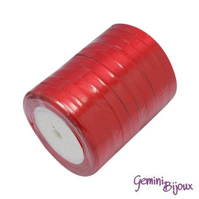 Rotolo da 23 mt. nastro di raso colore rosso 10 mm.