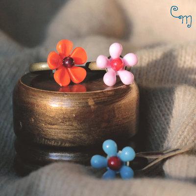 Anello bimba con fiore vintage azzurro - A.18.2015
